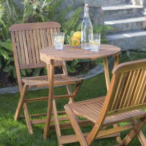 Folding Wooden Garden Bistro Sets For
